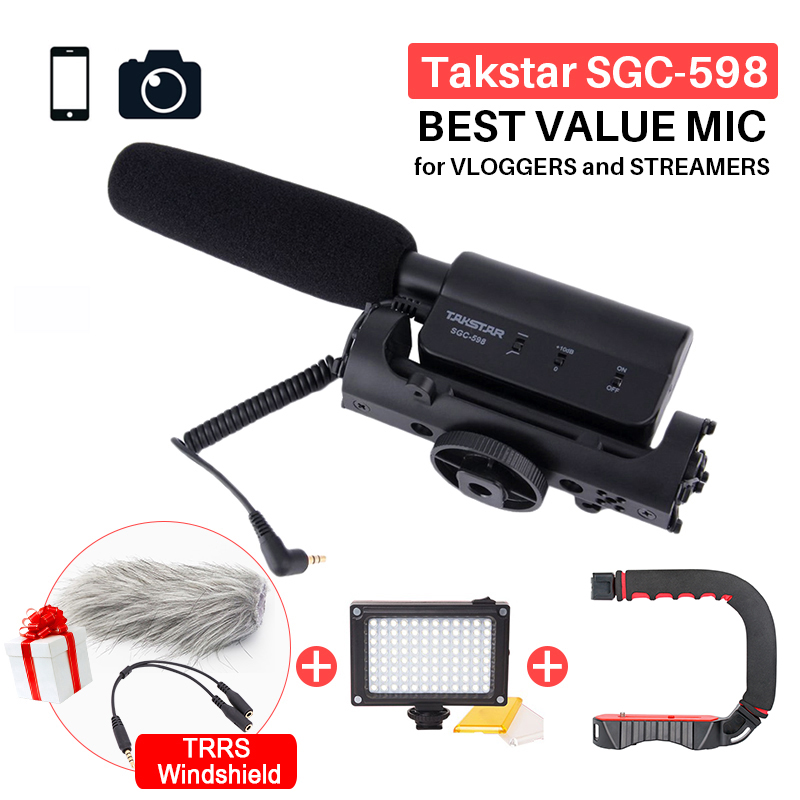 Microfone para Nikon Camcorder para Vloggers e videomaker Takstar Sgc 598 Fotografia Entrevista Shotgun Mic Canon Dslr Camera dv