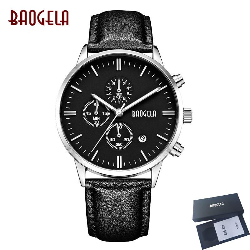 BAOGELA Black Sport Watch Men Chronograph Quartz Wristwatch Leather Strap Mens Watches Waterproof Clock relogio masculino saat цена
