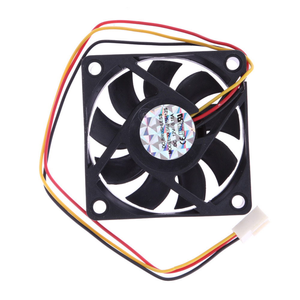 1pcs High Qulity 60x60x15mm 3 Pin 12V Case Computer Cooler Cooling Fan PC Black Wholesale Price aerocool 15 blade 1 56w mute model computer cpu cooling fan black 12 x 12cm 7v