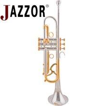 JAZZOR JZTR-800 профессиональная труба B плоская Золотая и Посеребренная труба латунные духовые инструменты с футляром и мундштуком