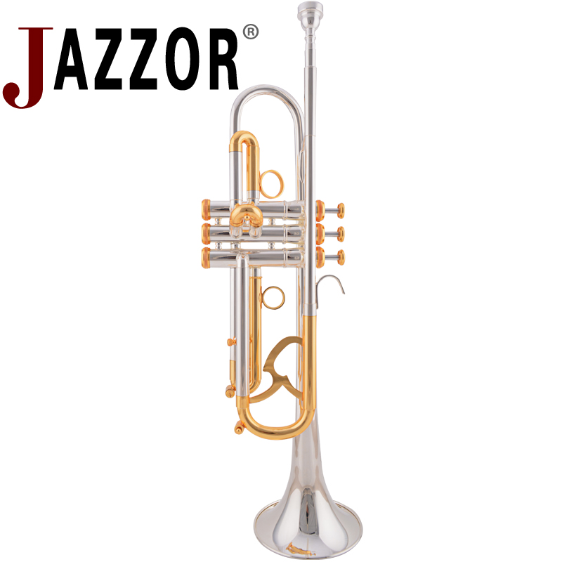 JAZZOR JZTR-800 trompete profissional B trompete plana Gold & Silver instrumentos de sopro de metal com caso e bocal