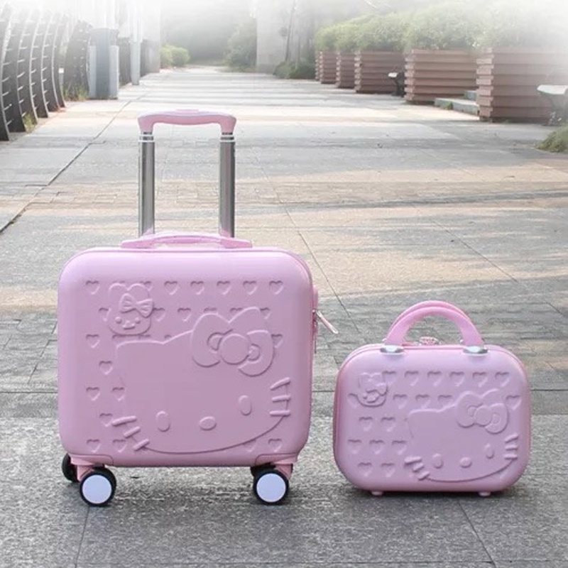 877e0cb94 Hello Kitty Luggage bag,Children girls lovely Suitcase set,ABS Cartoon Travel  Bag,Rolling Trolley luggage with 14 inch handbag-in Luggage Sets from  Luggage ...