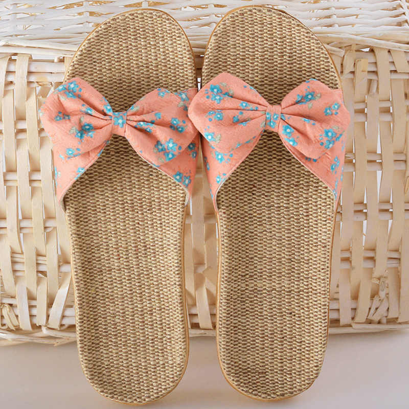 83d0f04b244c ... 2019 Women Slippers Spring Summer Home Shoes Women Casual Bow-knot Flip  Flops Soft Breathable ...
