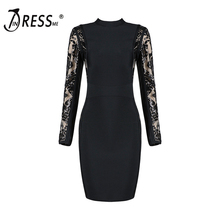 INDRESSME Sexy Backless Full Sleeve Women Bandage Party Dress Fashion Hollow Sequined Mini O Neck Women Dress Vestidos 2018 New