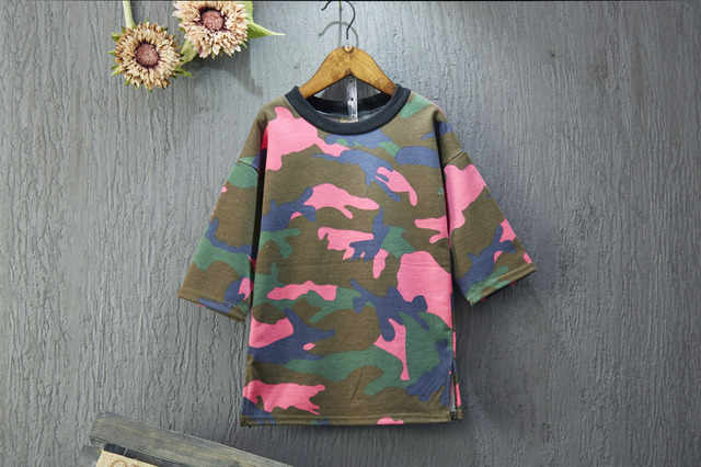 [Bosudhsou.] JH-21 Baby Boys Girls T shirts Children Fashion Camouflage Sweaters Girls three quarter Sleeve Tops Autumn Clothing