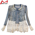 Jeans Jacket Women Casacos Feminino Slim Lace Patchwork Denim Lady Elegant Vintage Jackets Outwear Coat Chaquetas Mujer YL737