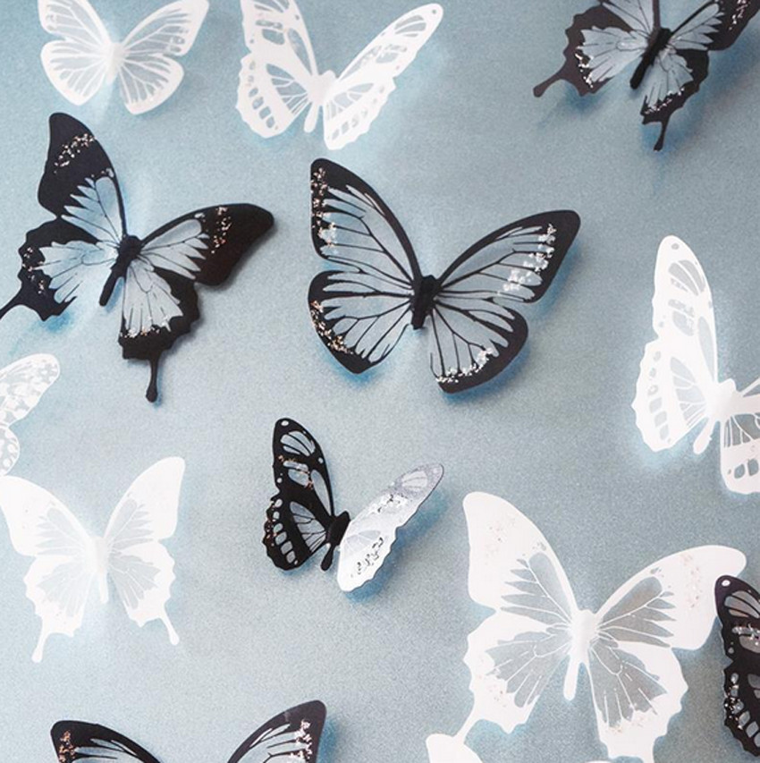 18PCS Black/White Crystal Butterfly Sticker Art Decal Home Decor ...