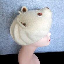 Wool felted Beret Hat Wool beret with Needle felt polar bear head  handmade  Animal modeling theme felted wool beret hat