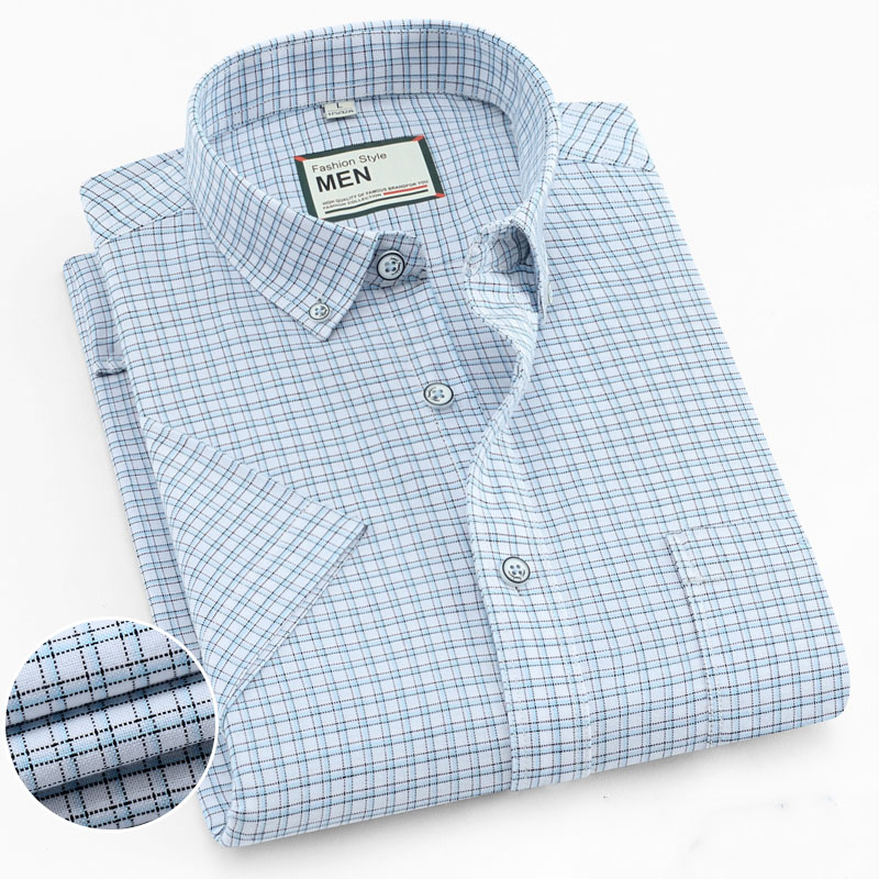 High Quality Pure Cotton Summer Short Sleeve Shirts For Men Casual Checked Design Solid Striped Regular Fit Pocket Smart Tops