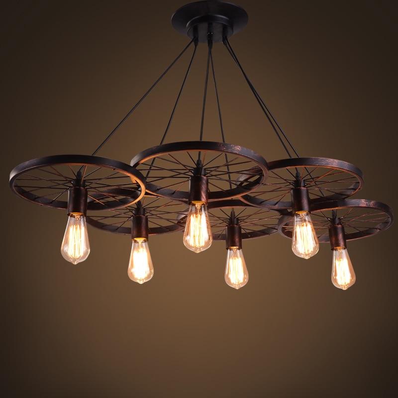 Antique Pendant Lights industrial loft creative personality retro American restaurant bar iron wheel Pendant Lamp