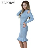 BEFORW Fashion Ruffle Women Sweater Dress 2017 Elegant Chic Long Sleeve Knit Dress Solid Color Knitted