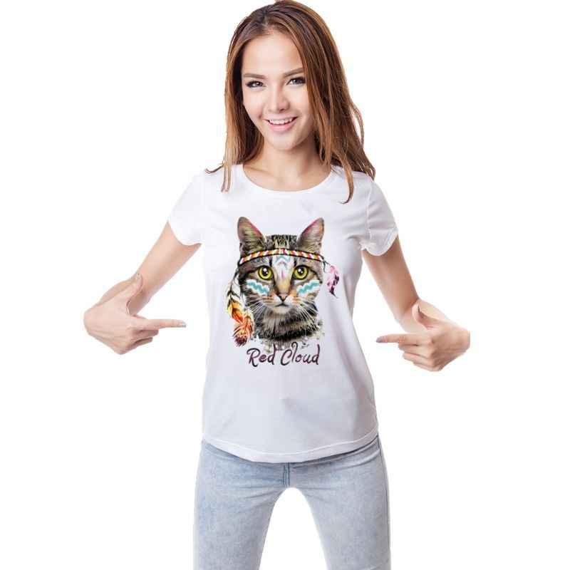 Новинка красное облако милый забавный кот футболка с принтом для женщин 100% хлопок короткий рукав Футболка большого размера модные повседневное брендо