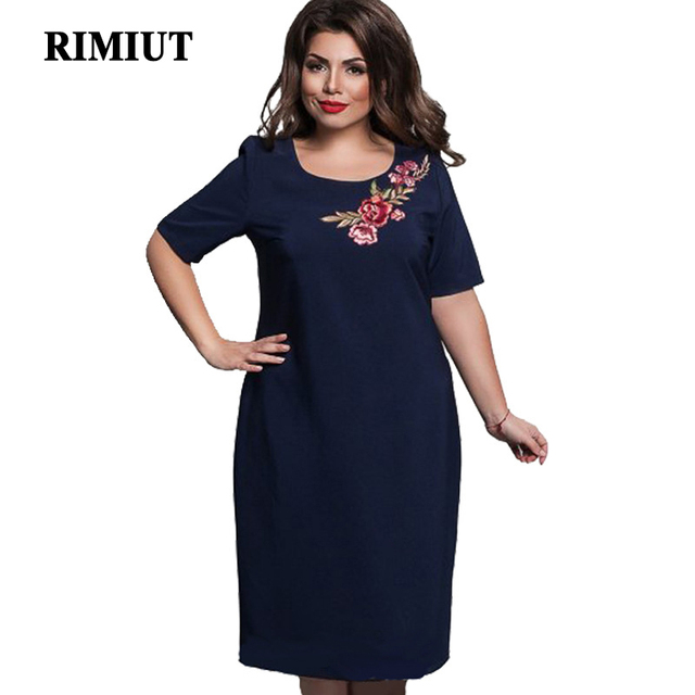 9ef67a8b512 RIMIUT Women s Casual Solid Short Sleeeve Flower Embroidery Fat MM Dress  6XL Plus Size O neck Knee Length Loose Women Dresses