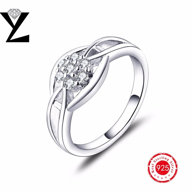 Wedding silver rings for women vintage style real 925 sterling silver engagement rings with simulated diamond 2016