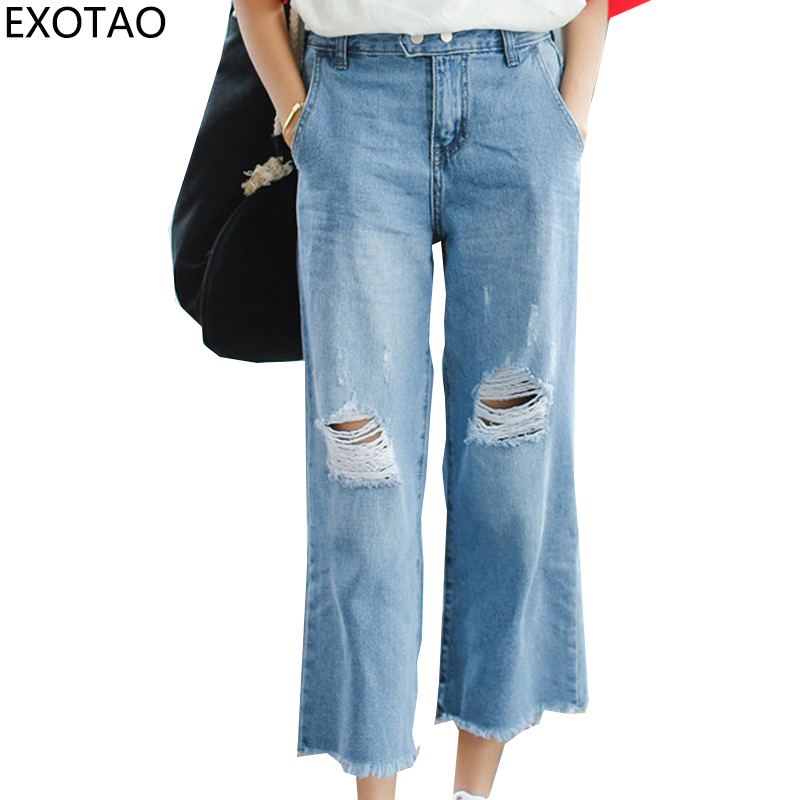 EXOTAO New High Waist Female Jeans Casual Hole Vaqueros Mujer Solid Wide Leg Pants Korean Style Women Ankle-length Jeans black white high waist jeans for women new hole pantalones vaqueros mujer all match solid trousers female plus size denim pants