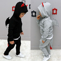 2014 new spring autumn baby boy's set children little devil wing hooed jacket+pants 2pcs clothing set kids costumes clothes