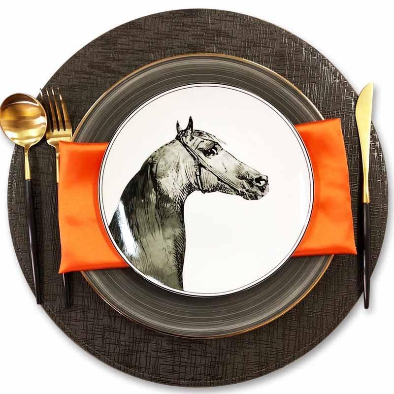 Plateau en porcelaine | Service de couverts Cubiertos Vajilla assiette à Steak de dîner occidental Design cheval, plateau à nourriture, plat rond de haute qualité