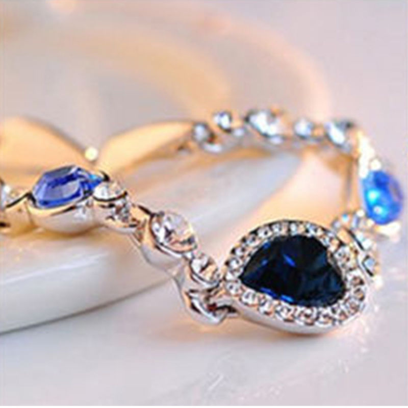 1 pc hot sellingNew Fashion Women Ocean Blue Crystal Rhinestone Heart  Bangle Bracelet Gift-in Chain   Link Bracelets from Jewelry   Accessories  on ... 1920d42758f3