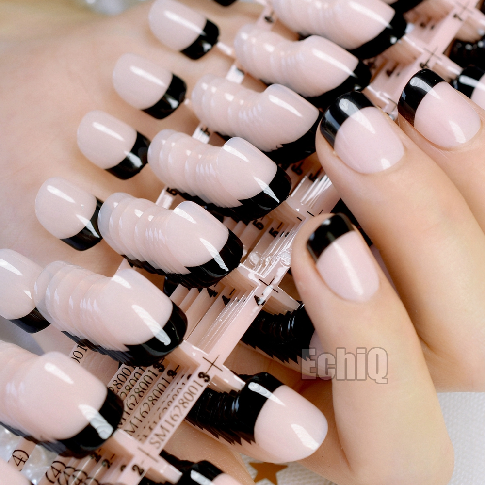Natural Color French Nail Black Tips Short Net Fashion Press On Nails Ladies Fake Nails Wholesale 10kits= 240pcs N209