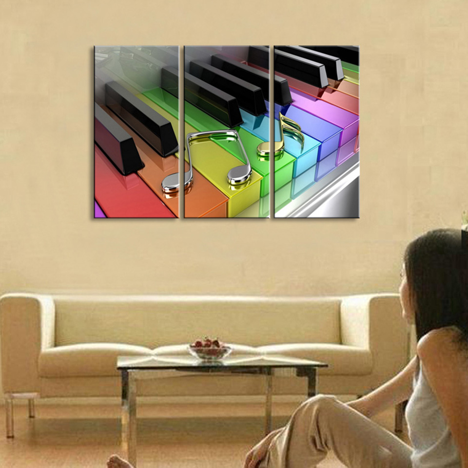 HD Printed Modern Canvas Art Painting 3 Panel Piano Music Symbol ...