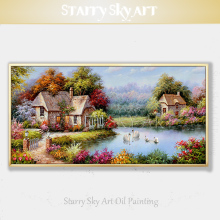 Beautiful Europe Landscape Oil Painting Hand-painted Colorful Swans Swim in Lake for Wall Decor