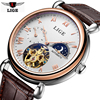 LIGE New Moon Phase Flywheel Watch Men S Leather Belt Hollow Mechanical Watches Luxury Business Men