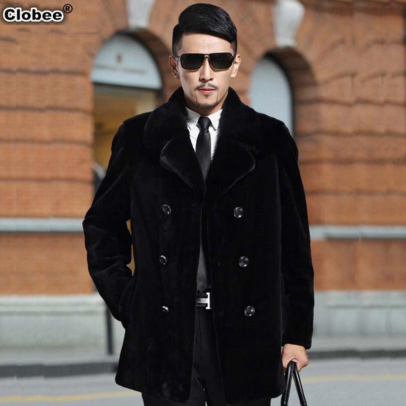 Mens Casual Winter Fake Mink Fur Jacket Faux Fur Coats Male Artificial Fur Overcoats Large Size 5XL Outwears Casaco Masculino