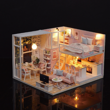 2019 DIY Doll House Miniature Dollhouse with Furnitures Wooden Furniture Kit Toys for Children Christmas Gift