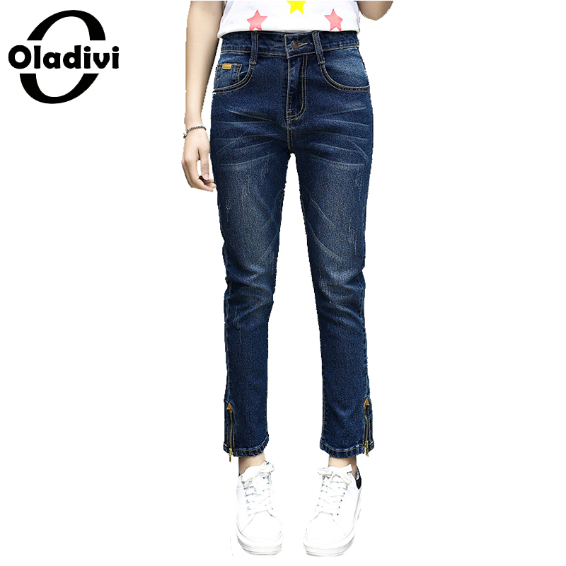 Oladivi Plus Size Women Apparel 2017 Spring Summer Fashion Ladies Denim Pants Causal Ladies Trousers Girl Zipper Jeans Blue 5XL plus size pants the spring new jeans pants suspenders ladies denim trousers elastic braces bib overalls for women dungarees