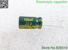 30pcs/lot 25V 100UF 6*12 high frequency low impedance aluminum electrolytic capacitor 100uf 25v