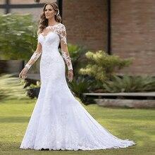 Vestido De Casamentoเซ็กซี่Mermaidชุดแต่งงานTulleสีขาวแขนยาวลูกไม้Appliquesไข่มุกชุดเจ้าสาวRobe Mariee Trouwjurk