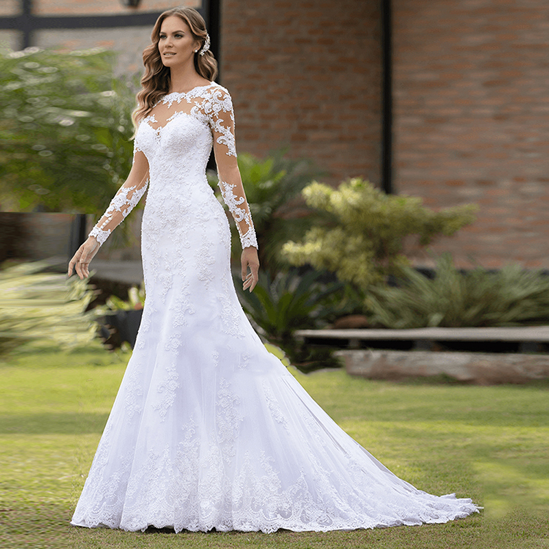 Vestido De Casamento Sexy Mermaid Wedding Dress Long Sleeves Lace Appliques Bridal Gown Robe De Marriage Dresses Trouwjurk ML429