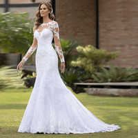Vestido de Casamento Sexy Mermaid Wedding Dress Long Sleeves Lace Appliques Bridal Gown Robe De Marriage Dresses Trouwjurk ML429
