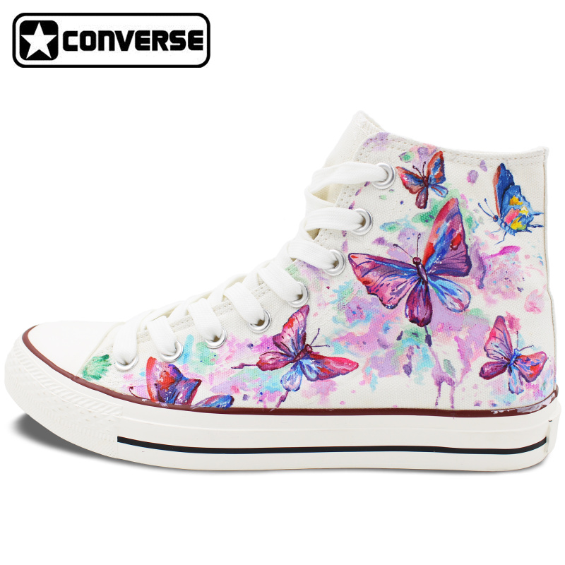 купить  2017 New Hand Painted Shoes Colorful Butterfly Converse Chuck Taylor High Top Canvas Sneakers Christmas Gifts Men Women  онлайн
