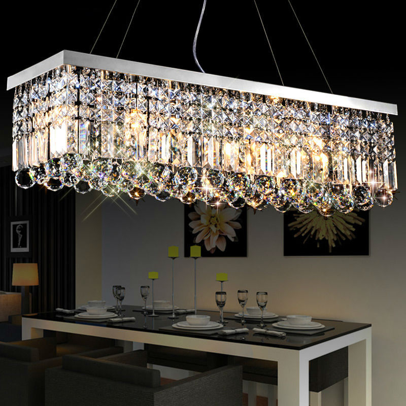 Modern LED crystal pendant light rectangle crystal light stainless lamp lighting for Dining room Kitchen with LED bulbs lights led crystal pendant lights for dining room kitchen restaurant lighting modern pendant lamp indoor led fixtures luminaire light