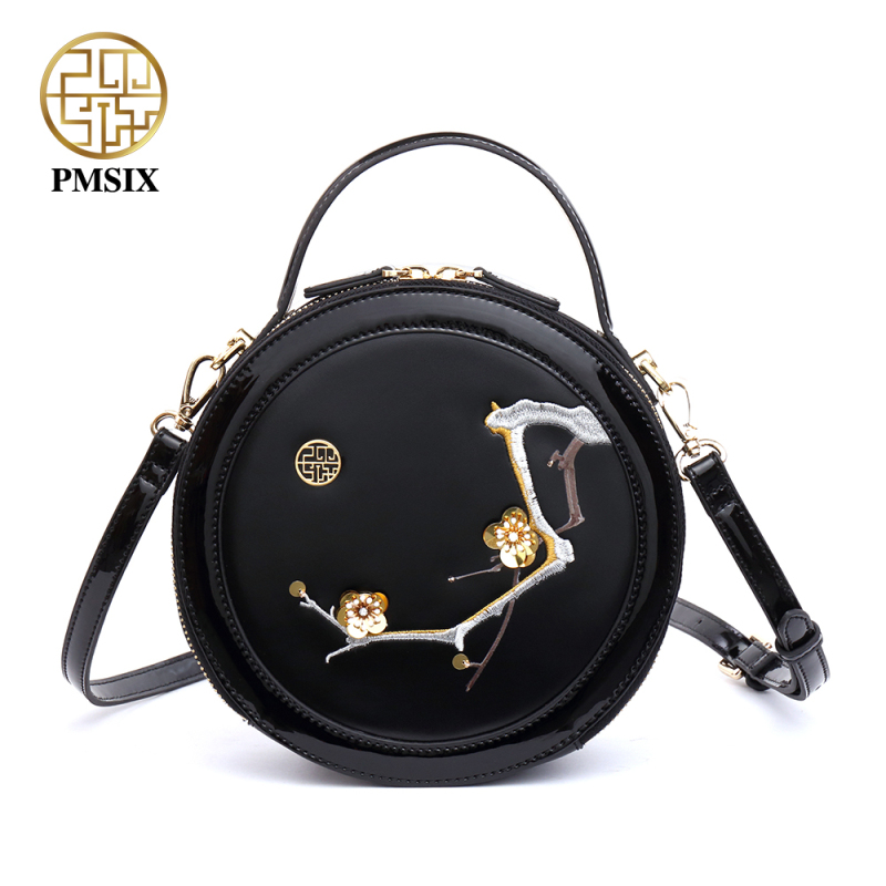 Pmsix 2018 Spring Split Leather Women Shoulder Bag High Quality Black Plum Embroidery Handbag Crossbody Tote Bag P220041 pmsix 2017 new women cattle split leather handbags chinese style shoulder bag red black embroidery fashion tote bag p120024