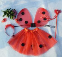 Venta CALIENTE de Halloween Para Niños Chicas 4 unids Mariquita Alas Conjunto de Falda Diadema Varita Costume Party(China (Mainland))