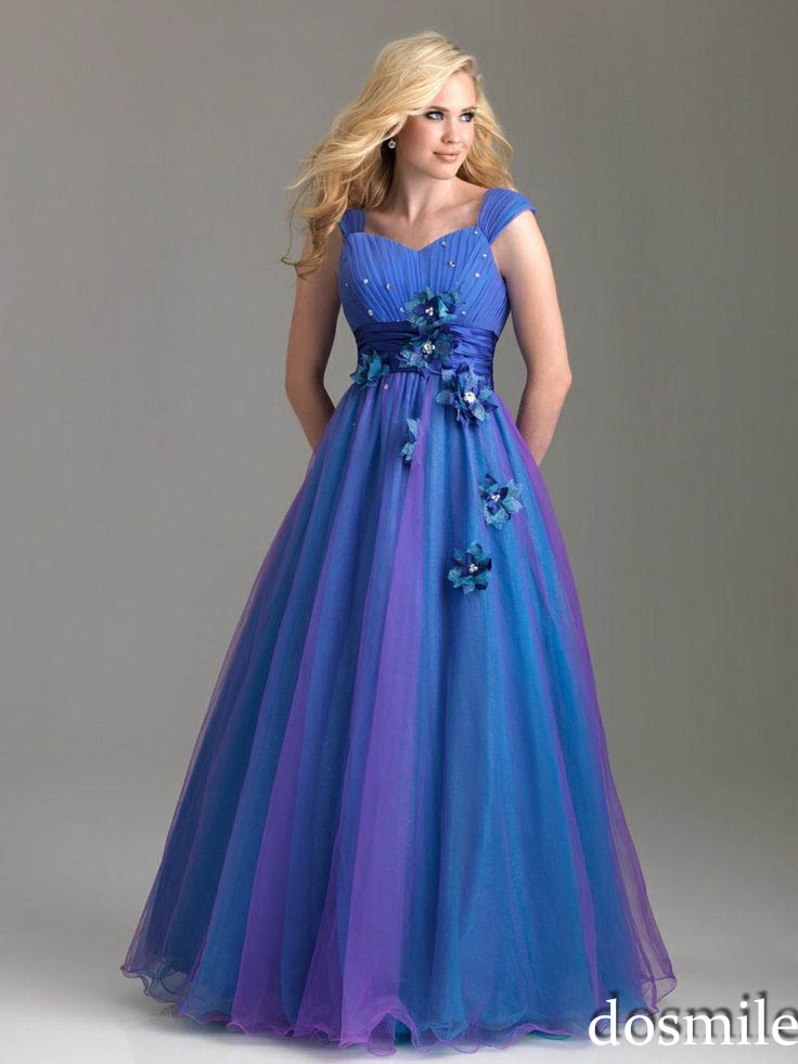 2016 Corset And Tulle Royal Blue Prom Dresses Ombre Colorful Plus
