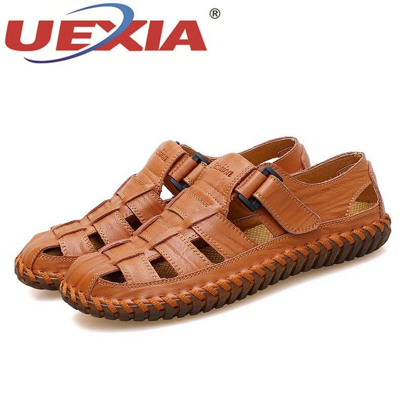 UEXIA большой Размеры ручной работы из искусственной кожи летние мягкие мужской Босоножки для Для мужчин дышащая легкая пляжная обувь Повсед...