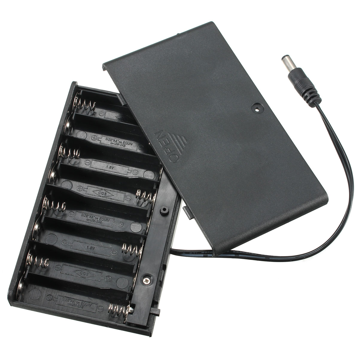 Hot Sale Plastic 8x AA 2A Battery Clip Holder 12V Storage Case Enclosed Box with Wire Leads and ON/OFF Switch