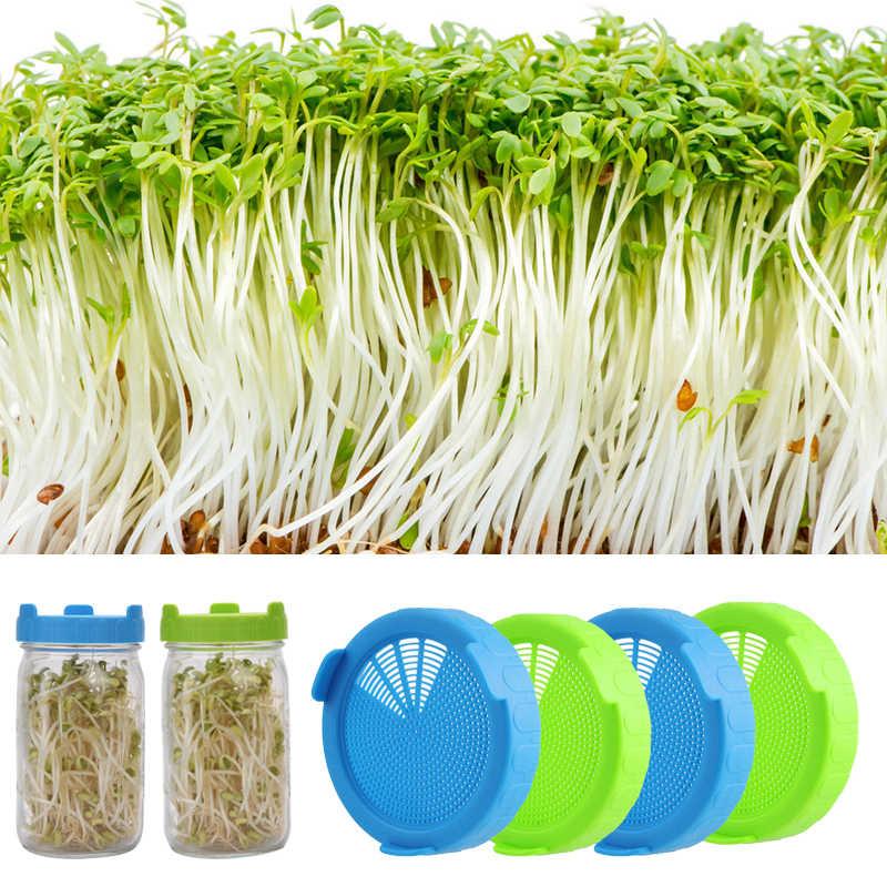 4 oder 2 Sprießen Deckel Lebensmittel Grade Mesh Sprießen Abdeckung Kit Samen Wachsenden Keimung Gemüse Silikon Dicht Ring Deckel Für mason Jar