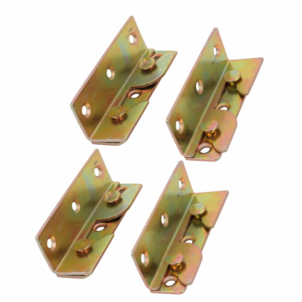 Uxcell Newest 4 Sets M5 Hole Dia Iron Zinc Plated Screw Fixed Bed Hinge Rail Bracket Connecting Fittings 79x25x23mm Bronze Tone
