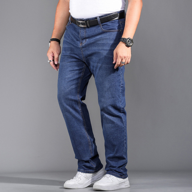 High Quality Stretch Plus Big Size 29 - 44 46 48 90% Cotton Straight Denim Jeans Men Famous Brand 2019 Spring 3