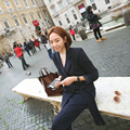 Lazada Lateral Oficina de Negocios Delgado Traje de las mujeres 2016 Nueva Moda OL Coreano Conjunto Chaqueta Formal de Chaqueta + Pantalones de Traje Femenino femenino