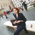 Mulheres Se Adequar 2016 Nova Moda Lacing Lado Magro Escritório de Negócios OL Conjunto Formal Blazer Jaqueta + Calça Terno Feminino Coreano feminino