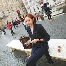 Women Suit 2016 New Fashion Side Lacing Slim Business Office OL Korean Jacket Set Formal Blazer + Pants Suit Feminino Female