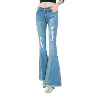 Image 5 - LIBERJOG セクシーな女性ベルボトムパンツジーンズコットン秋冬カジュアル穴ワイド脚フレアデニムパンツ女性のジーンズ