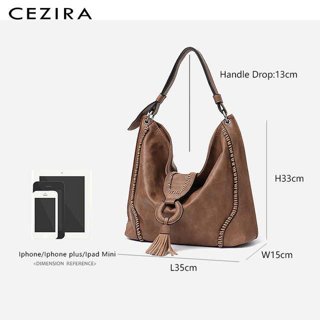 CEZIRA Fashion Vegan Leather Top-handle Bags Female Tote Shoulder Bags Ladies Large Hand Bags Tassel Flap Women Casual Hobo Bags 5