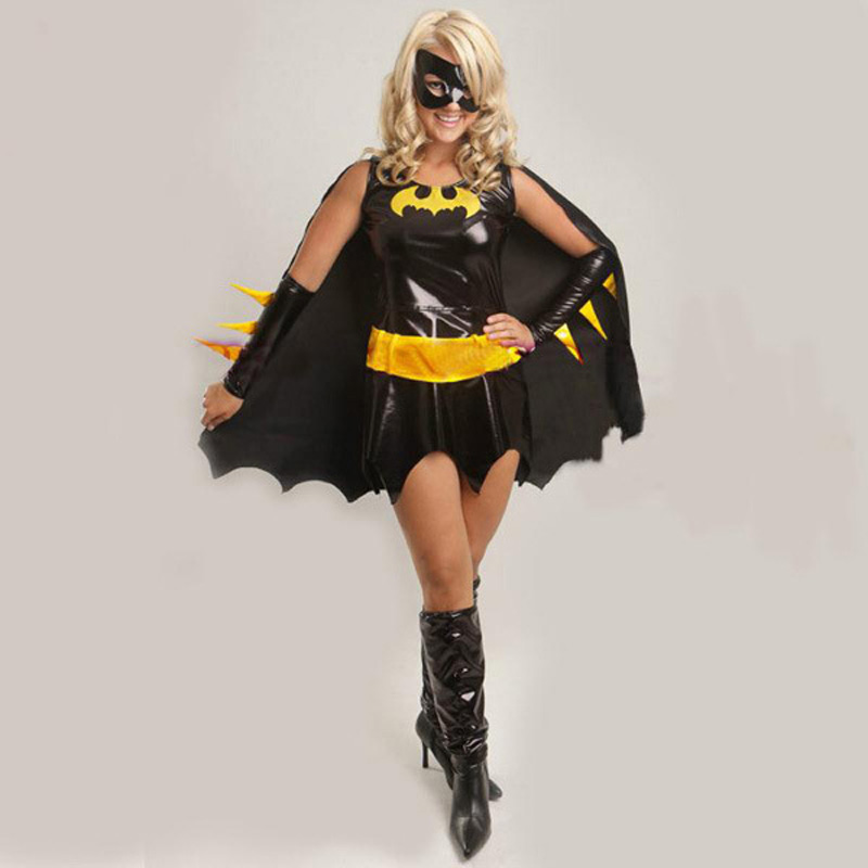 Adult Black Anime Batman Costume with Cloak Cosplay For Woman Girl Halloween Masquerade Fancy Dresses Party Size M XL