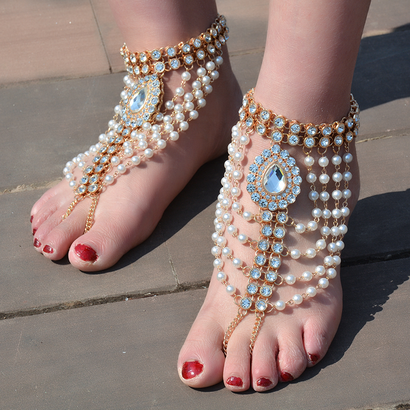IngeSight.Z Bohemian Multi Layered Simulated Pearl Anklet Bracelet - Mode-sieraden - Foto 2
